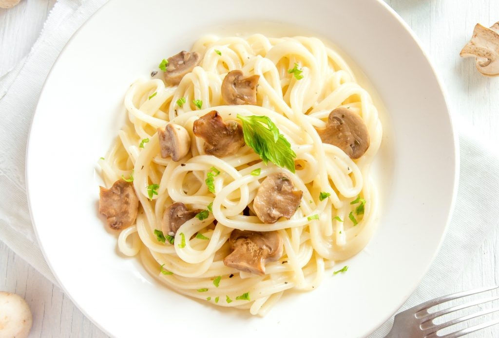 photo of creamy mushroom pasta from above