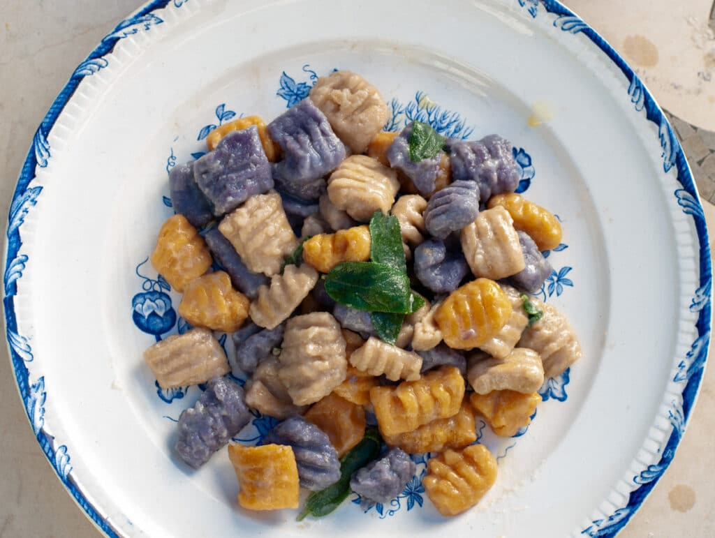 Photo of a plate serving Rainbow Vegan Gnocchi