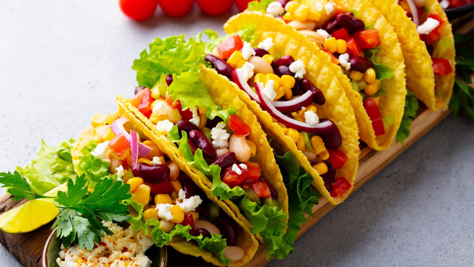 photo of several vegetarian tacos