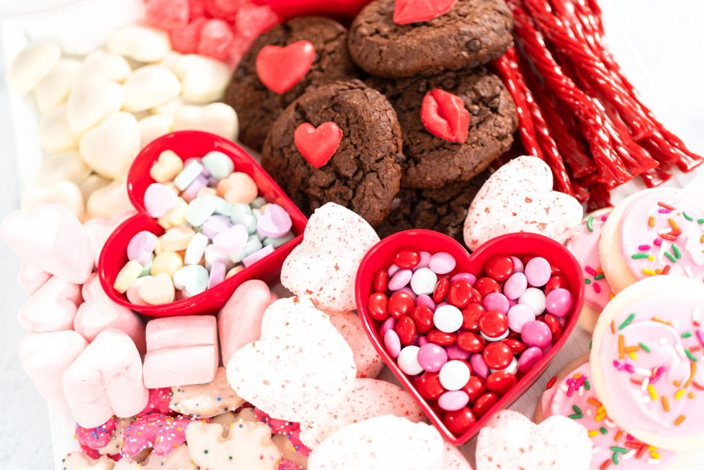 close up of a Valentine's Candy dessert board