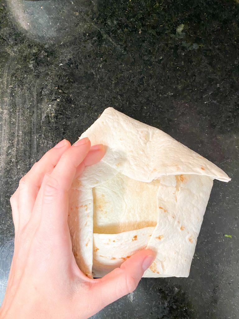 vegan crunchwrap supreme folded before frying