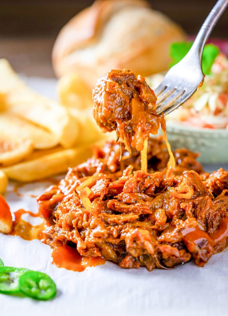 jackfruit pulled pork with a fork picking it up