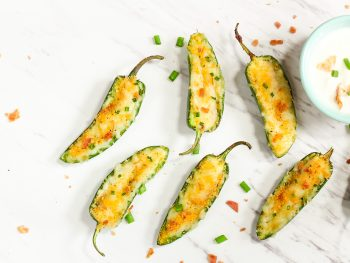 vegan jalapeno poppers on a white counter top